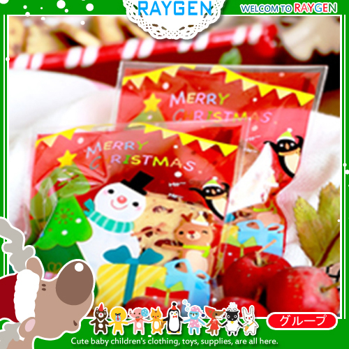 烘焙餅乾X'MAS聖誕雪人禮物紅底自黏袋 單售