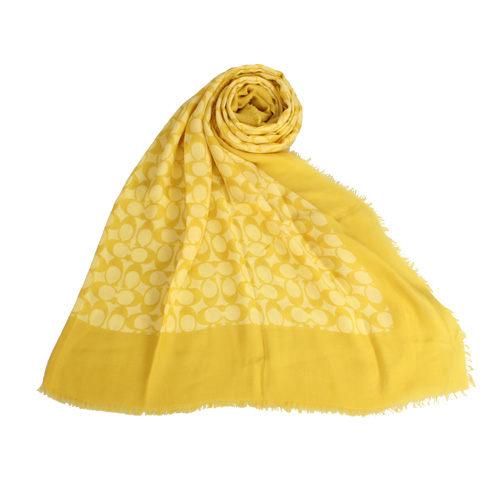 COACH經典大C紋路薄披肩圍巾檸檬黃190947-3