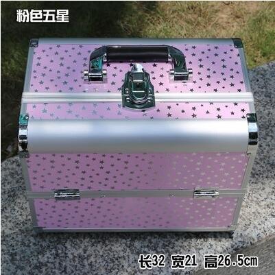 新款手提大號化妝箱專業化妝師必備紋繡工具箱彩妝箱大號粉色五星