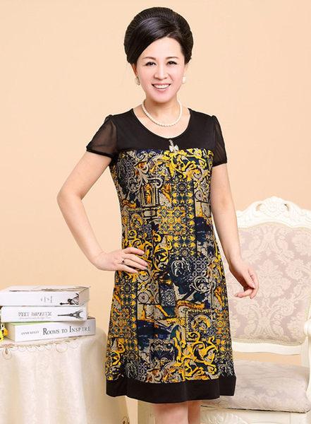 3C膜露露中老年連衣裙夏裝新款中年女裝短袖長裙子大碼媽媽裝黃色花色