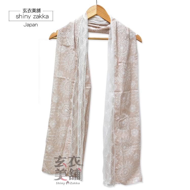 繡花透紗長絲巾-韓國製蕾絲拼接薄款圍巾-玄衣美舖