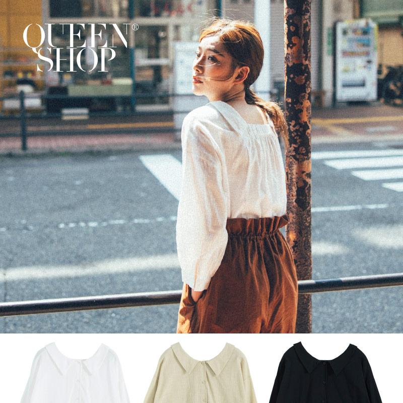 Queen Shop【01096316】後鬆緊尖領設計棉麻上衣 三色售*現+預*