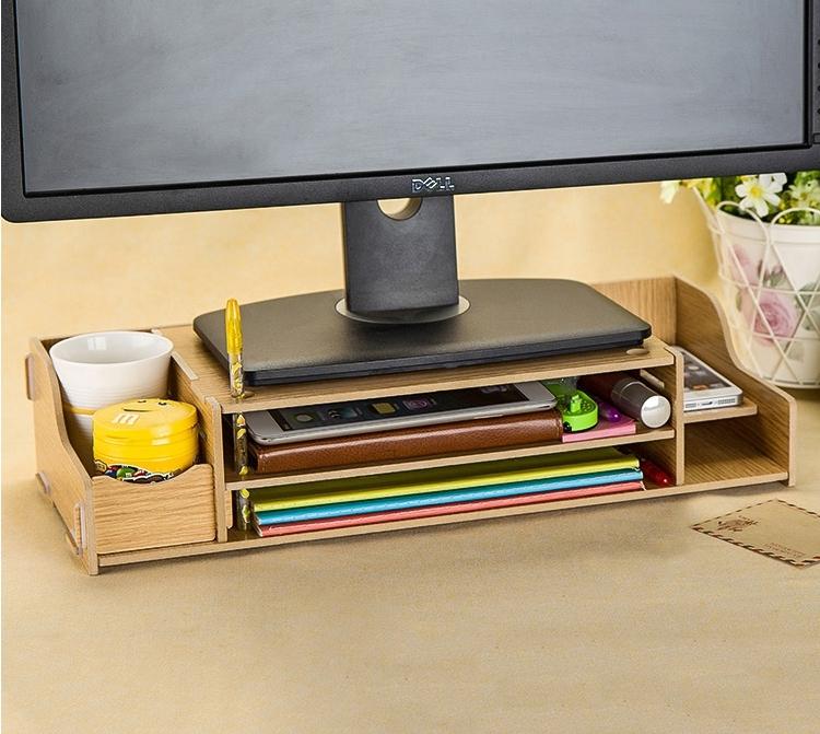 ♚MY COLOR♚加厚版 5mm 多功能DIY木質拼裝 電腦螢幕架 收納 置物 鍵盤 增高 托高【R13】