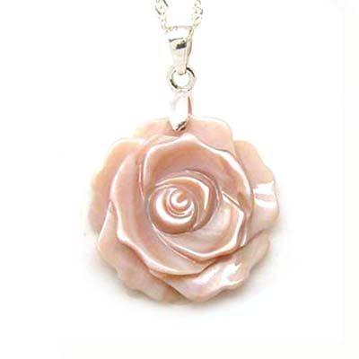 貝殼粉紅玫瑰花純銀項鍊花22mm