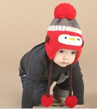 預購男女寶寶保暖加絨企鵝套頭帽小孩針織帽