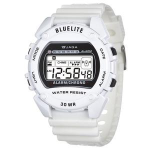 捷卡 JAGA 電子錶 防水手錶 冷光照明 學生錶/兒童手錶/男童/男錶 M175-D 白