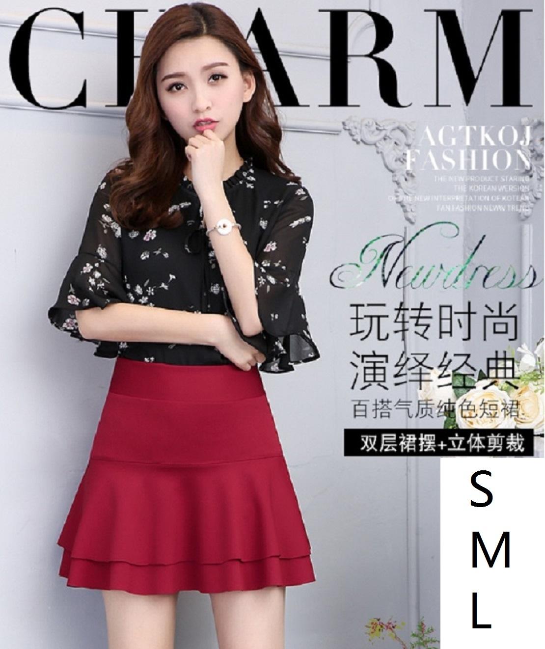 韓版高腰彈力防走光短裙雙層裙擺A字裙蛋糕裙 Cindygirl A566