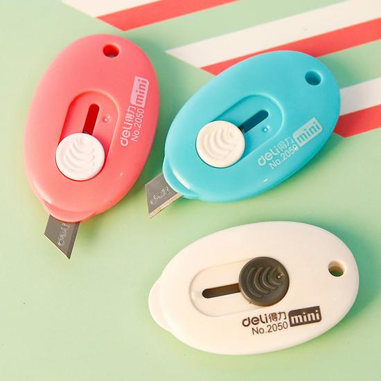 米菈生活館K109-2橢圓推式迷你美工刀刀片文具學生美術辦公室桌面切割手作創造