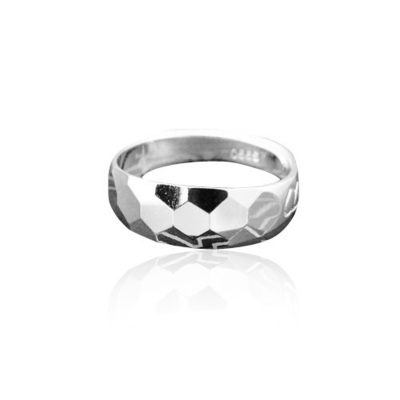 【小】雪銀 99 純銀  多面多邊鏡面戒指