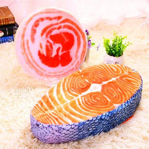 仿真食品 鮭魚抱枕 趣味三文魚/鮭魚靠墊靠枕抱枕 坐墊新奇 仿真創意居家 禮品毛絨玩具