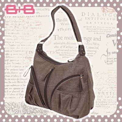 休閒純靜媽媽包-咖尿布墊保溫袋多功能大空間斜背媽咪包HAPPY B B E-B-95174-B