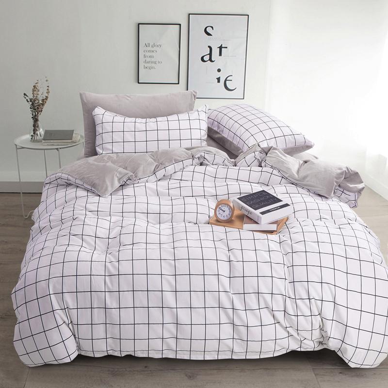 法蘭絨雙人床包灰格刷毛5尺雙人床包組床包被套枕套兩用被毯ikea床單精梳棉佛你
