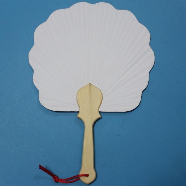 3號花瓣空白紙扇子一件500支入促50~5860木柄竹枝雙面紙彩繪扇子