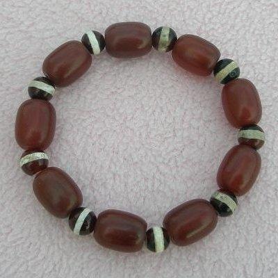 歡喜心珠寶夢幻紅玉髓加一線天珠手鍊老品造型天珠附保証書超低價售出