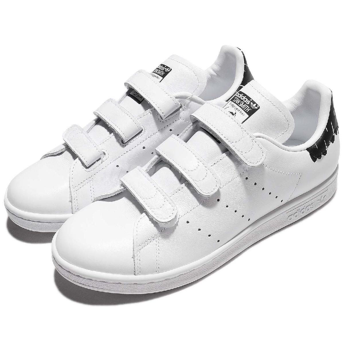 adidas休閒鞋Stan Smith CF W白黑皮革後跟塗鴉設計魔鬼氈女鞋PUMP306 BY2975