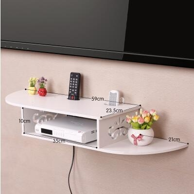創意牆上電視機頂盒架免打孔置物架客廳路由器收納盒壁掛臥室隔板加長曲線A款