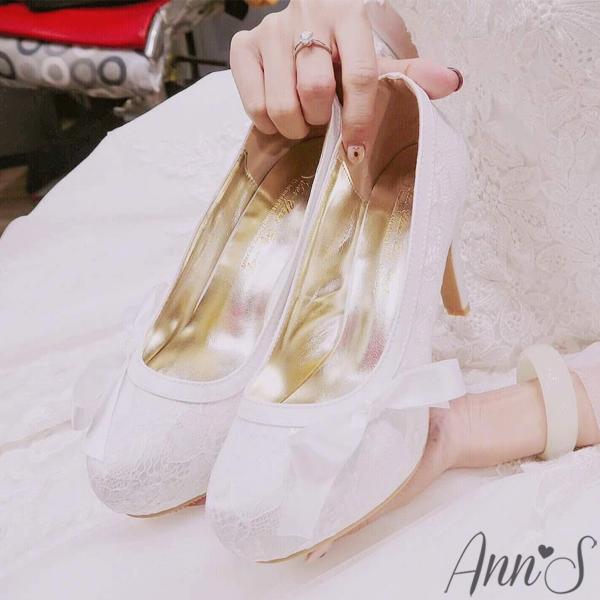 Ann S Bridal幸福婚鞋典雅緞帶蝴蝶結蕾絲跟鞋-白