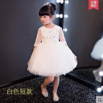 熊孩子蓬蓬裙鋼琴演出服晚禮服白色夏白色短款