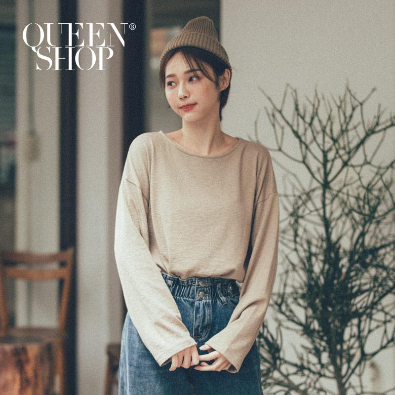 Queen Shop【01096436】圓領寬版竹節上衣 兩色售*現+預*