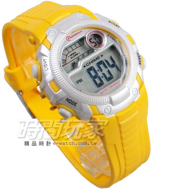 MINGRUI多色搭配多功能計時碼錶電子錶女錶學生錶兒童手錶防水手錶MR8562黃
