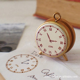 543創意Decole復古小巧時鐘造型木質印章日記印章手帳印章WG005