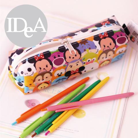 迪士尼TSUM TSUM疊疊樂光亮面文具筆袋收納化妝包刷具防水學生上學粉領族上班Disney全家集點