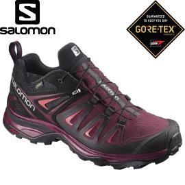 【SALOMON 索羅門 女款 X ULTRA 3 GORE-TEX低筒登山鞋《紅/黑/紅》】低筒登山鞋/登山鞋/露營/健行/398681