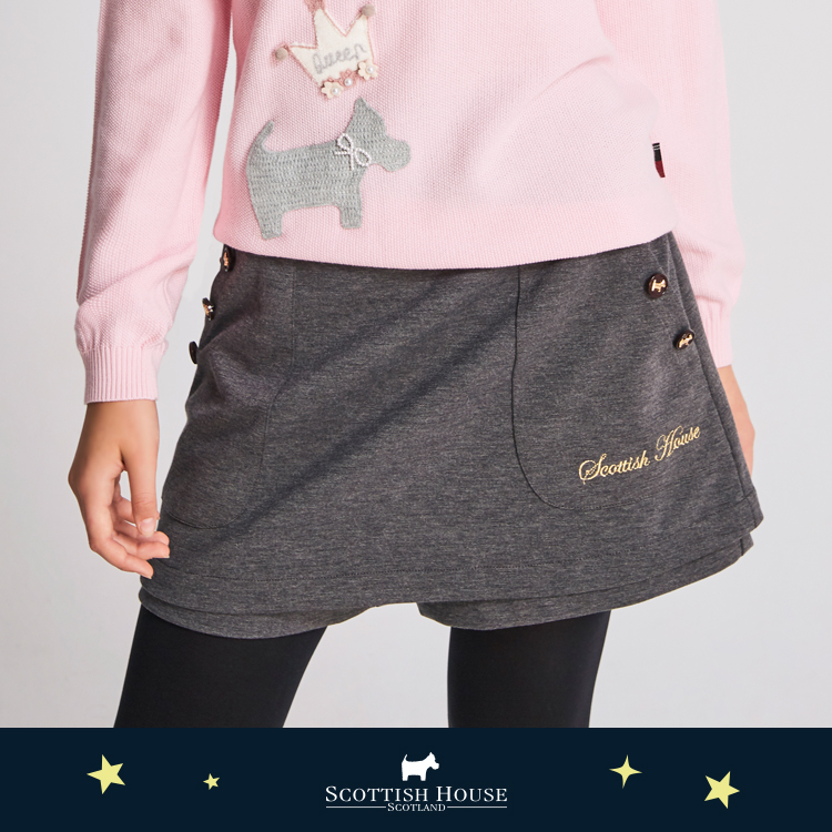 大口袋刺繡素面短褲裙  Scottish House【AJ2251】