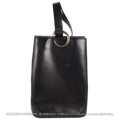 茱麗葉精品二手精品8成新Cartier卡帝亞經典LOGO皮革單柄後包.黑