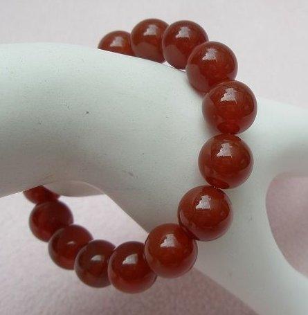 歡喜心珠寶紅玉髓12mm圓珠手串16顆.天然紅玉髓附保証書佛教七寶之一紅玉髓天珠