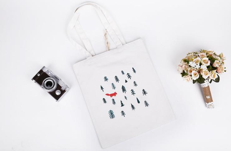 韓國狐狸插畫帆布包原創清新小帆布(有拉鍊)文藝帆布袋帆布包-蛋妹的店