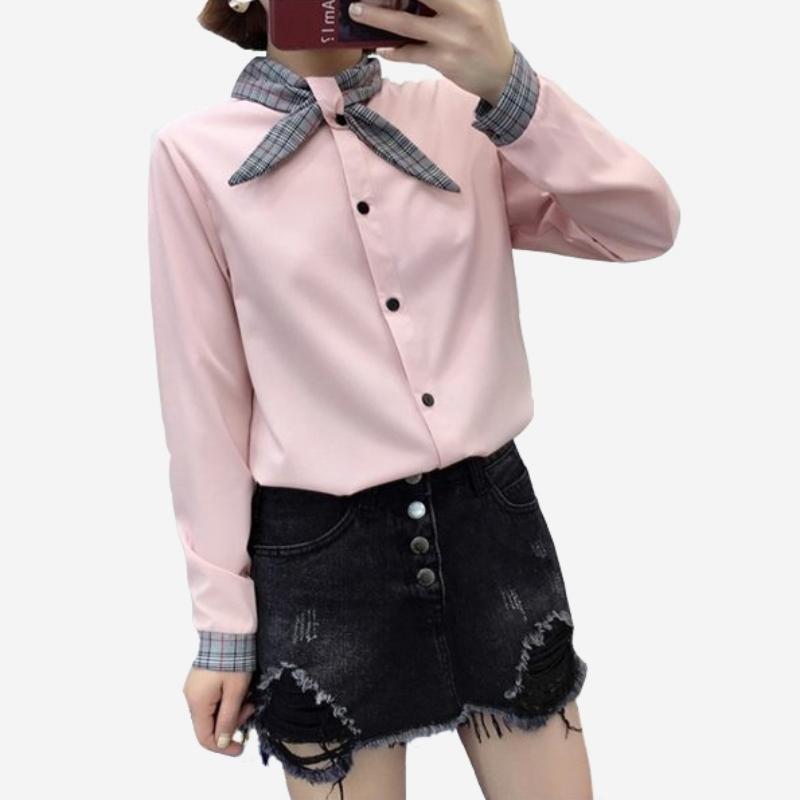 OL格子領結雪紡長袖襯衫上衣 (白  米黃  粉) 三色售 11812055