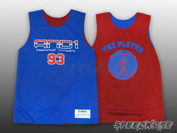 AND1球衣雙面穿籃球背心漸層93寶藍紅肌肉人練習衣T4033-0F2 Speedkobe