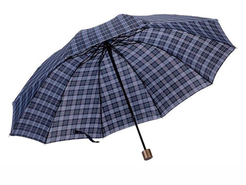 【49吋格子傘】10骨商務傘 十骨三折傘 遮陽傘 摺疊傘 晴雨傘 兩用傘 折疊傘 超大傘直徑125cm