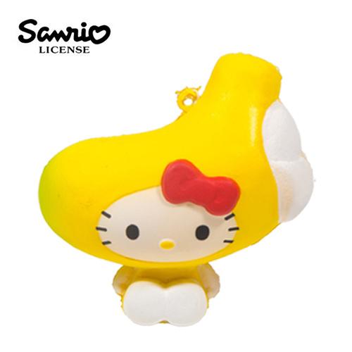 香蕉款【日本進口】Hello Kitty 凱蒂貓 水果造型 捏捏吊飾 吊飾 捏捏樂 軟軟 三麗鷗 Sanrio - 614605