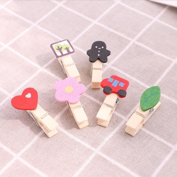 彩色可愛萌物小木夾子照片夾子麻繩組合照片牆婚禮相片夾裝飾12個預購CH2080