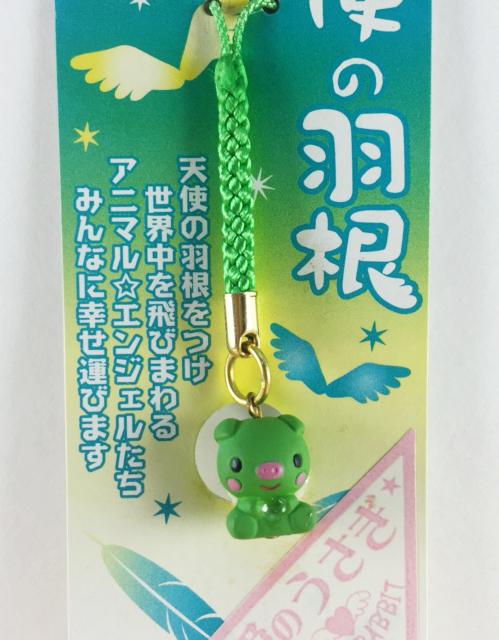 震撼精品百貨日本手機吊飾~天使羽根-手機吊飾-豬造型-綠色款