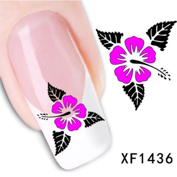 水印美甲貼紙三葉粉小花XF1436指甲貼紙DIY裝飾貼紙想購了超級小物