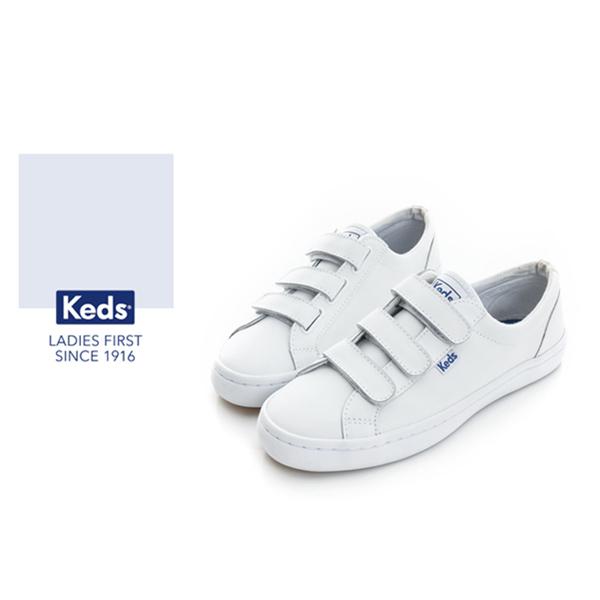 Keds時尚運動系列START運動魔鬼氈皮質休閒鞋-白73W132211
