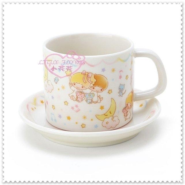 小花花日本精品雙子星kikilala小熊繽紛音符星星夢幻星空緞帶迷你杯盤組咖啡杯57018706