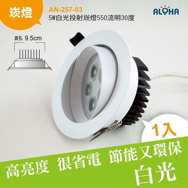 LED燈光設計白光崁燈5W白光投射崁燈550流明30度-崁孔9.5cm AN-257-03