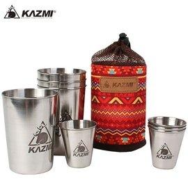丹大戶外KAZMI經典民族風不鏽鋼套杯8件組紅色K5T3K007RD