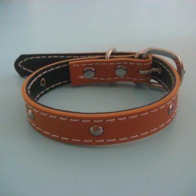 小號雙層狗皮帶(棕色)/頸圈/項圈/胸帶/寵物用品