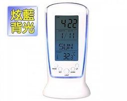 新竹超人3C萬年曆數字鐘鬧鐘炫藍背光日期星期溫度顯示鬧鐘貪睡功能生日提醒