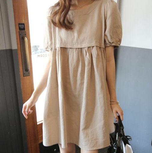 洋裝 韓版 中大碼 娃娃裝 寬鬆長版連身裙 *27小舖【現貨】