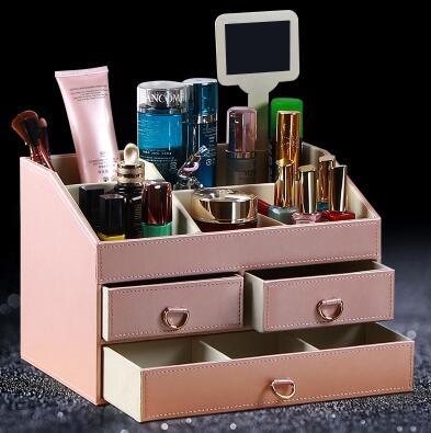 雅皮仕皮革歐式首飾盒公主首飾盒飾品盒化妝品收納盒韓國木大號粉色化妝盒