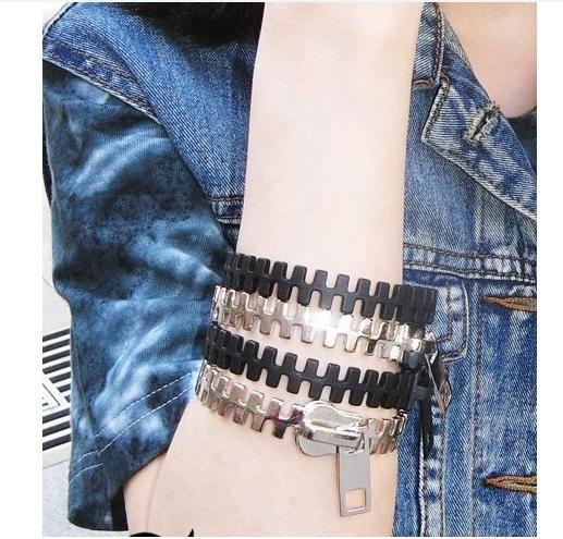 (特價) 時尚龐克拉鏈手環 1入 歐美日系復古