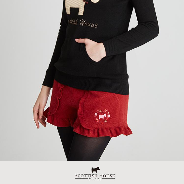 毛料刺繡荷葉短褲  Scottish House【AH2264】