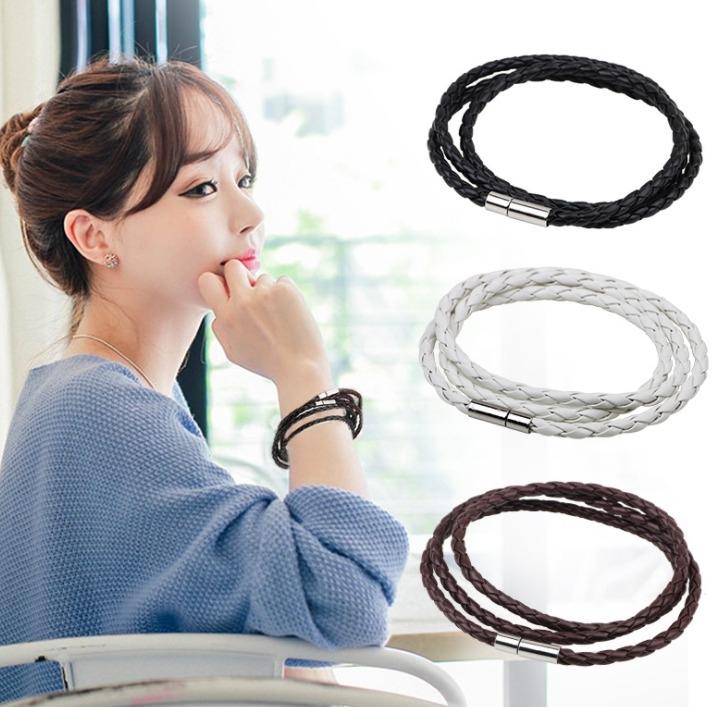 女士 多層 編織麻花 不銹鋼扣 手環 韓國 爆款 皮繩 手鐲