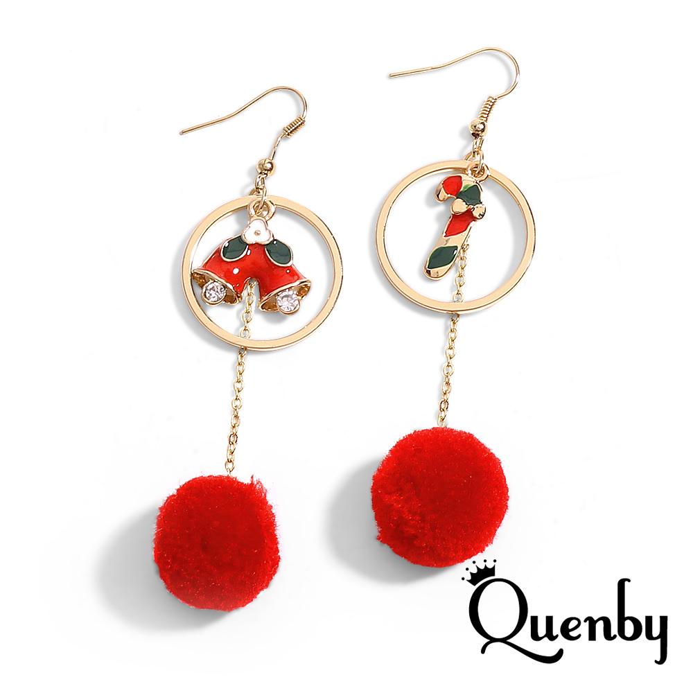Quenby 秋冬聖誕節鈴噹枴杖棒棒糖紅色球球長耳環/耳針